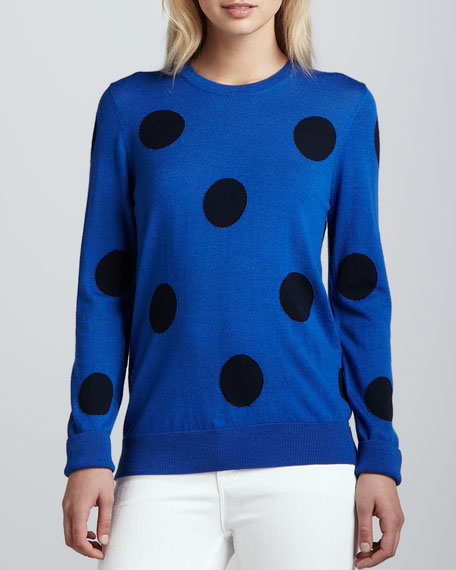 Shane Oversize-Dot Wool Sweater, Electric Blue