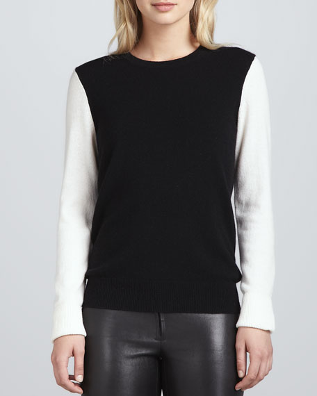 Shane Cashmere Colorblock Sweater, Black/Ivory