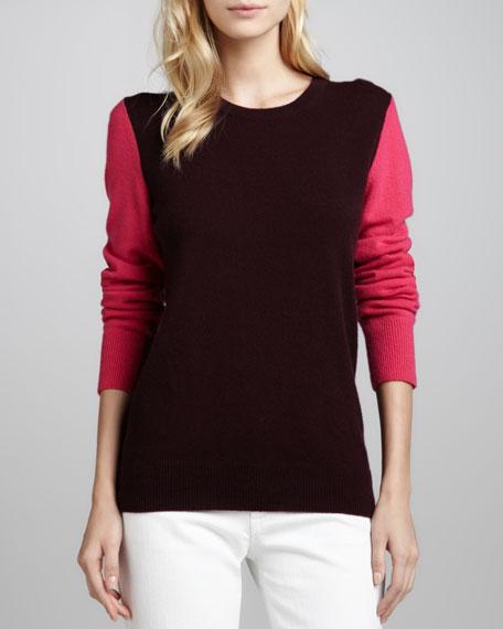 Shane Cashmere Colorblock Sweater, Cabernet/Fuchsia