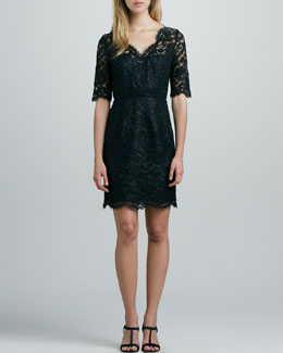 Shoshanna Three-Quarter-Sleeve Lace Dress