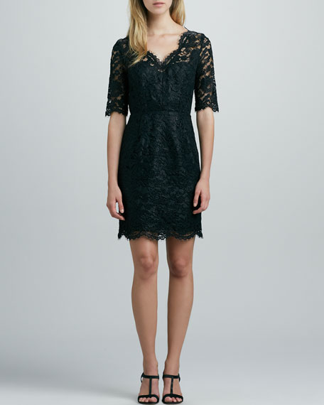 Three-Quarter-Sleeve Lace Dress