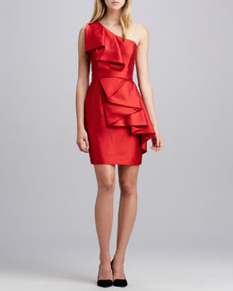 Shoshanna One-Shoulder Ruffle Dress