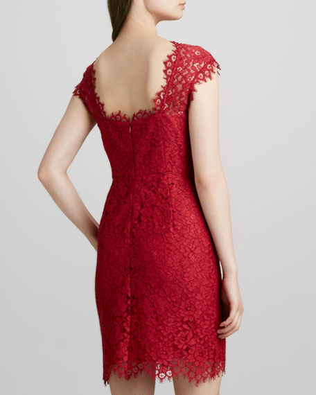 Boat-Neck Lace Dress, Crimson