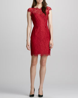 Shoshanna Boat-Neck Lace Dress, Crimson
