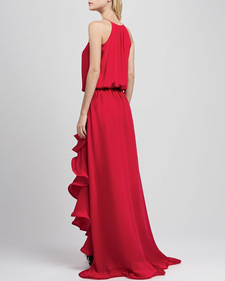 Mickael Ruffled Silk Gown