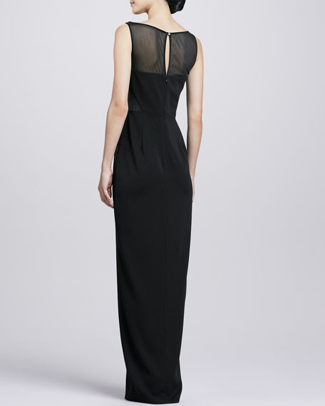 Mesh Bodice Center-Slit Gown