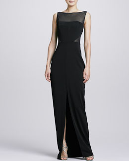 Badgley Mischka Mesh Bodice Center-Slit Gown