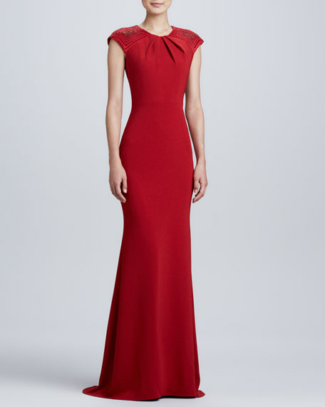 Beaded-Cap-Sleeve Gown