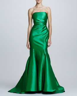 Badgley Mischka Ruch-Side Strapless Mermaid Gown