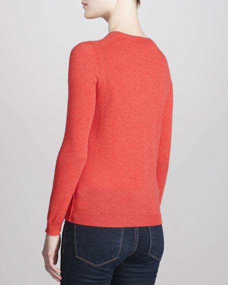 Crewneck Cashmere Sweater, Geranium