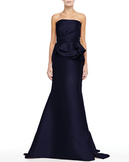 Badgley Mischka Strapless Trumpet Peplum Gown