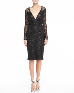 Badgley Mischka Lace V-Neck Cocktail Dress