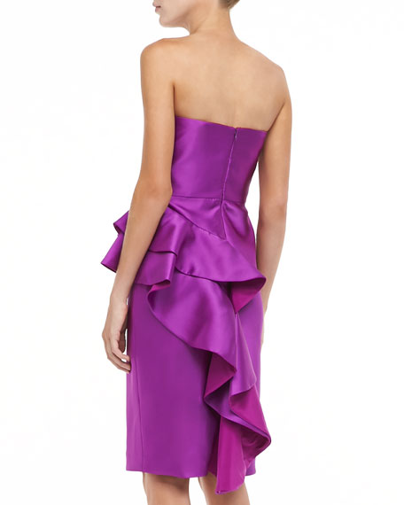 Badgley Mischka Sleeveless Ruffle Peplum Cocktail Dress