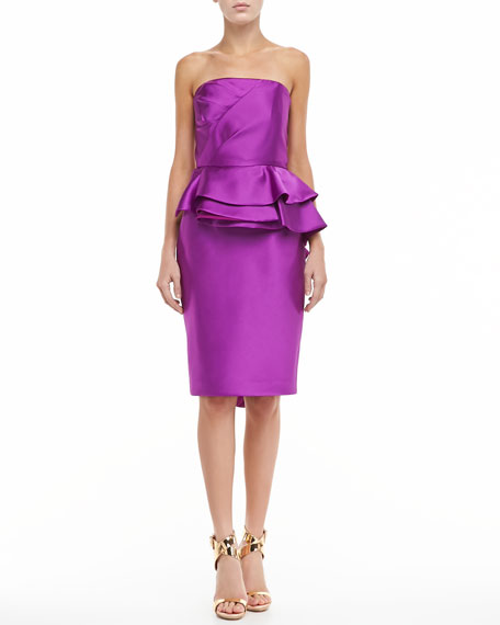 Sleeveless Ruffle Peplum Cocktail Dress