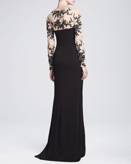 Long-Sleeve Gown with Lace Illusion