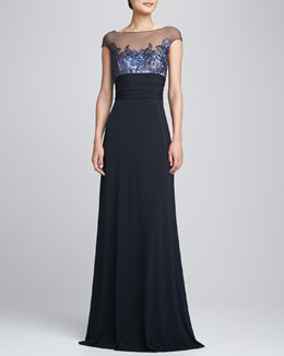 David Meister Illusion-Neck Swan Bodice Gown