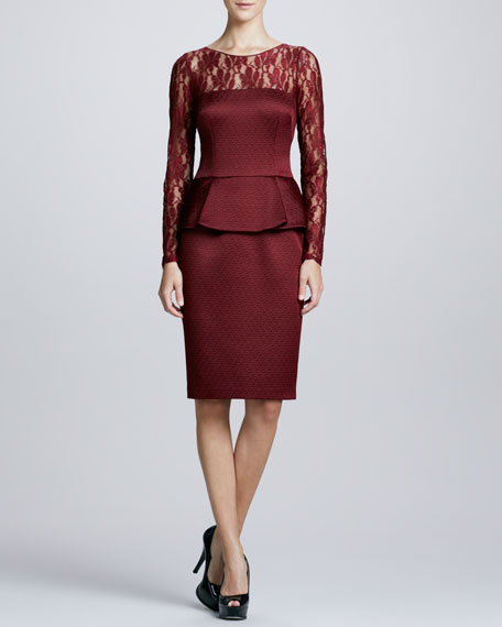 Illusion-Neck Peplum Cocktail Dress, Garnet