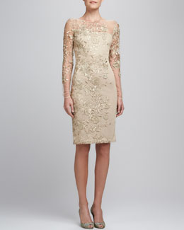 David Meister Embroidered Lace Cocktail Dress