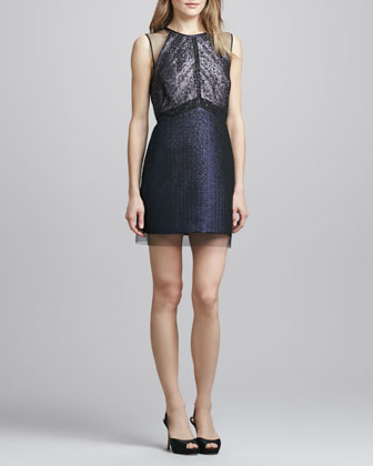 Sleeveless Jacquard & Lace Cocktail Dress