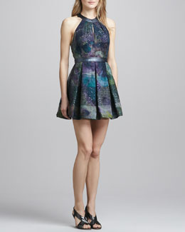 Phoebe Couture Halter Fit-and-and-Flare Dress
