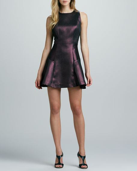 Jacquard Cocktail Dress with Sheer Back Bodice