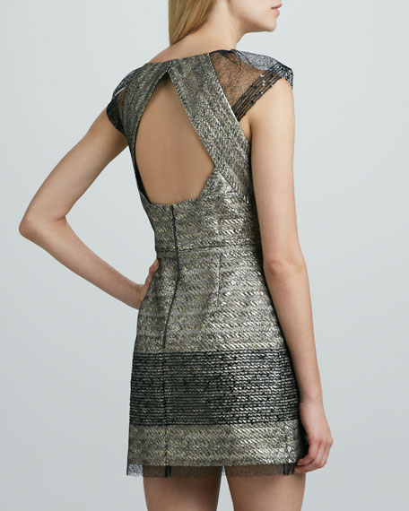Metallic Jacquard Cap-Sleeve Cocktail Dress
