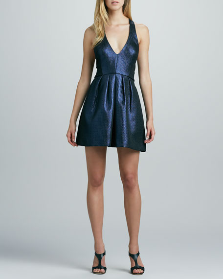 Jacquard V-Neck Cocktail Dress