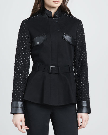 Stud-Sleeve Military Jacket