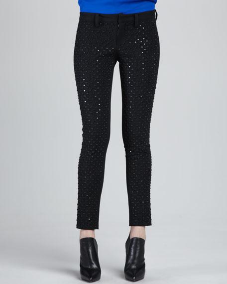 Crystal-Stud Skinny Jeans