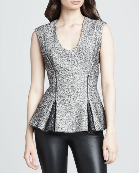 Zip-Waist Tweed Peplum Top