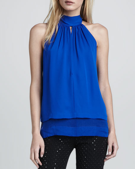 Stretch-Silk Halter Top
