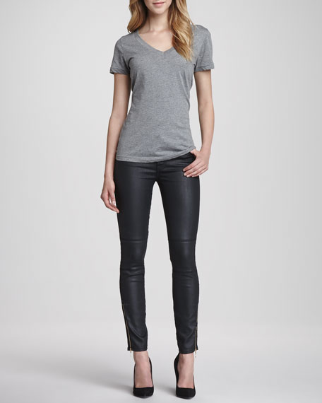 The Ankle-Zip Skinny in Pierced Jeather with Zips,Black