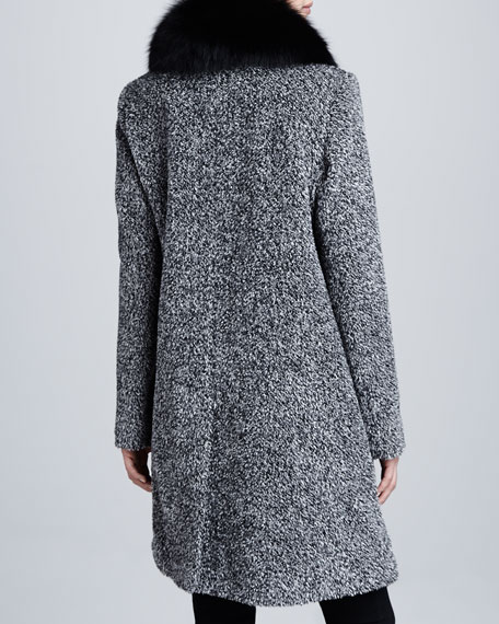 Tweed Button-Front Fur Collar Coat