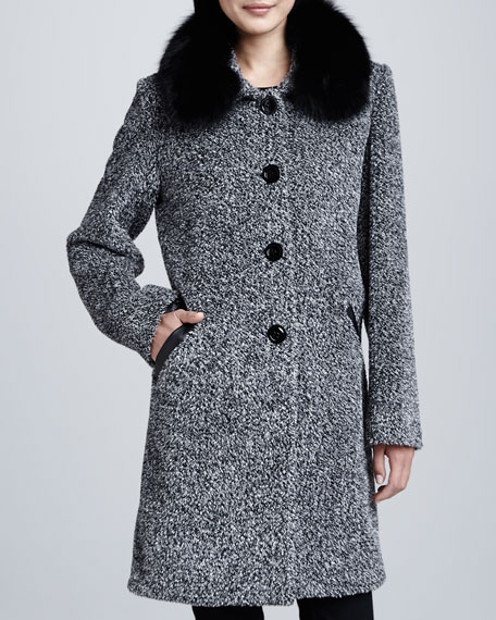 Sofia Cashmere Tweed Button-Front Fur Collar Coat