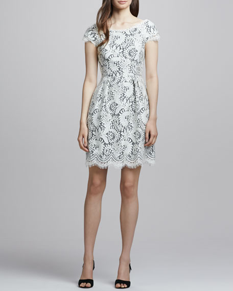 White Lace Cap-Sleeve Dress