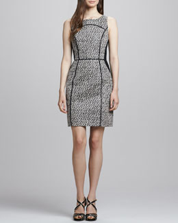 Shoshanna Sleeveless Two-Tone Herringbone Dress