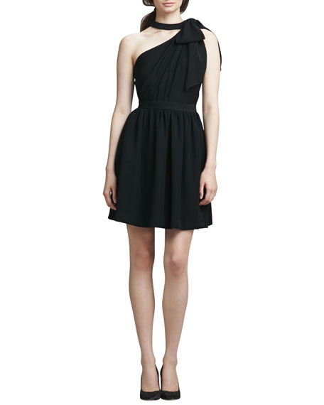 One-Shoulder Dress with Bow, Black