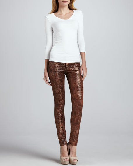 The Skinny Jeans in Croc-Embossed Faux Leather