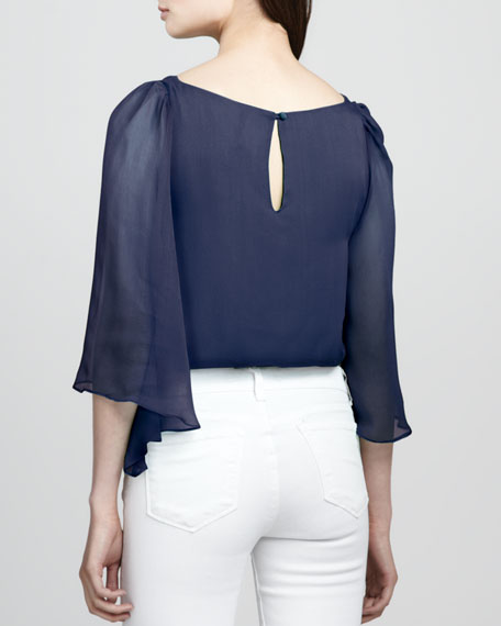 Briar Sheer-Sleeve Top, Indigo