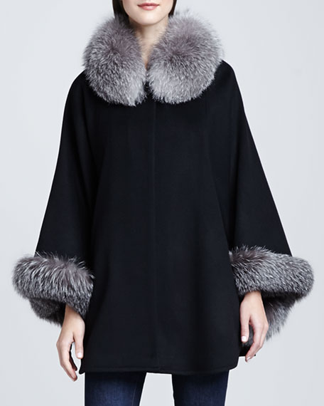 Fox-Trim wool-Blend Cape