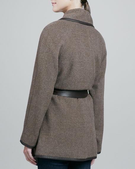 Alpaca Tweed Leather-Trim Belted Coat