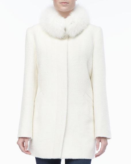 Sofia Cashmere Alpaca/Wool Fur-Collar Coat
