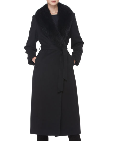 Fur-Collar Belted Long Wrap Coat