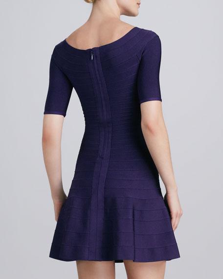 Boat-Neck Flare-Hem Bandage Dress