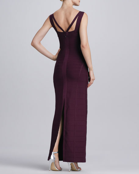 Multi-Strap Bandage Gown, Bordeaux