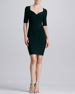 Herve Leger Sweetheart-Neck Bandage Dress