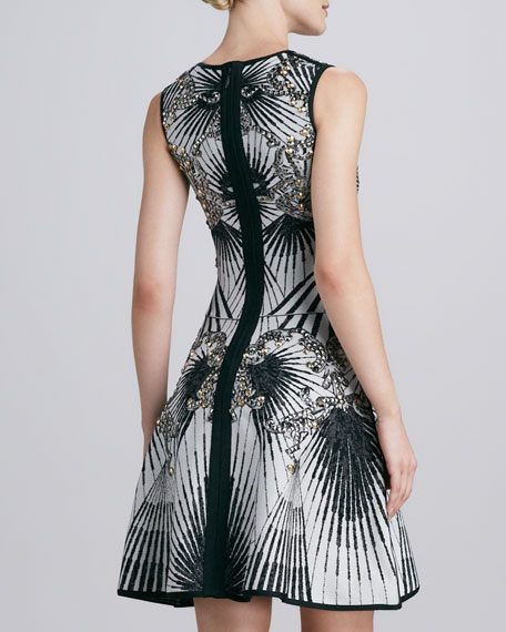 Beaded Printed Bandage Dress