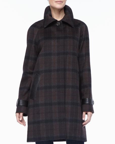 Plaid Balmacaan Leather-Trim Coat