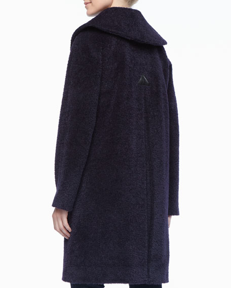 Inverted Pleat Coat with Leather Trim