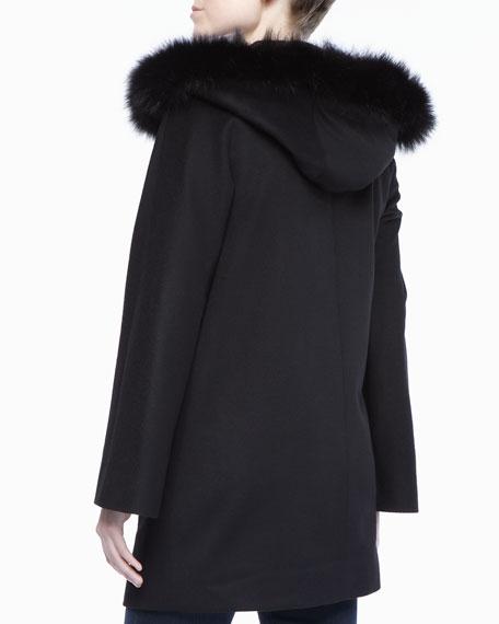 Sofia Cashmere Zipper Front Dolman Sleeve Fur Coat